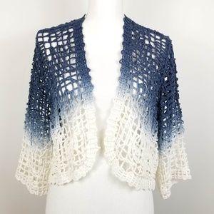 White Blue Ombre Crochet Boho Cardigan Sweater M